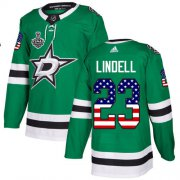 Cheap Adidas Stars #23 Esa Lindell Green Home Authentic USA Flag Youth 2020 Stanley Cup Final Stitched NHL Jersey