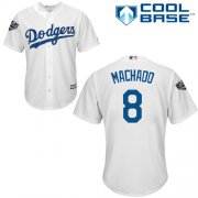 Wholesale Cheap Dodgers #8 Manny Machado White Cool Base 2018 World Series Stitched Youth MLB Jersey