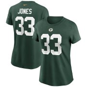 Wholesale Cheap Green Bay Packers #33 Aaron Jones Nike Women's Team Player Name & Number T-Shirt Green