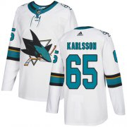 Wholesale Cheap Adidas Sharks #65 Erik Karlsson White Road Authentic Stitched Youth NHL Jersey