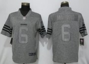 Wholesale Cheap Nike Browns #6 Baker Mayfield Gray Men's Stitched NFL Limited Gridiron Gray Jersey