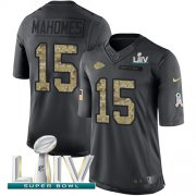 Wholesale Cheap Nike Chiefs #15 Patrick Mahomes Black Super Bowl LIV 2020 Men's Stitched NFL Limited 2016 Salute to Service Jersey