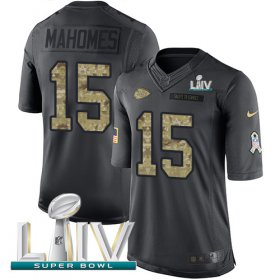 Wholesale Cheap Nike Chiefs #15 Patrick Mahomes Black Super Bowl LIV 2020 Men\'s Stitched NFL Limited 2016 Salute to Service Jersey
