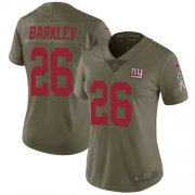 Wholesale Cheap Nike Giants #26 Saquon Barkley Olive Women's Stitched NFL Limited 2017 Salute to Service Jersey