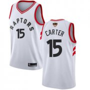 Wholesale Cheap Raptors #15 Vince Carter White 2019 Finals Bound Women's Basketball Swingman Association Edition Jersey