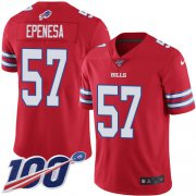 Wholesale Cheap Nike Bills #57 A.J. Epenesas Red Men's Stitched NFL Limited Rush 100th Season Jersey