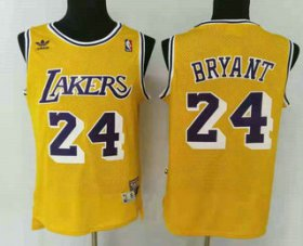 Wholesale Cheap Men\'s Los Angeles Lakers #24 Kobe Bryant Yellow Hardwood Classics Soul Swingman Throwback Jersey