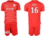 Wholesale Cheap Marseille #16 Pele Red Goalkeeper Soccer Club Jersey