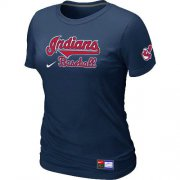 Wholesale Cheap Women's Nike Cleveland Indians Short Sleeve Practice T-Shirt Dark Blue