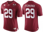Wholesale Cheap Men's Alabama Crimson Tide #29 Minkah Fitzpatrick Red 2017 Championship Game Patch Stitched CFP Nike Limited Jersey