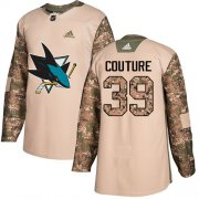 Wholesale Cheap Adidas Sharks #39 Logan Couture Camo Authentic 2017 Veterans Day Stitched Youth NHL Jersey