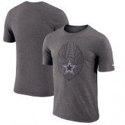 Wholesale Cheap Men's Dallas Cowboys Nike Heathered Charcoal Fan Gear Icon Performance T-Shirt