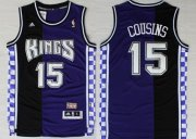 Wholesale Cheap Sacramento Kings #15 DeMarcus Cousins Purple/Black Swingman Throwback Jersey