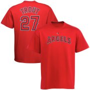 Wholesale Cheap Los Angeles Angels #27 Mike Trout Majestic Official Name and Number T-Shirt Red