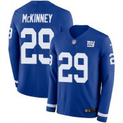 Wholesale Cheap Nike Giants #29 Xavier McKinney Royal Blue Team Color Men's Stitched NFL Limited Therma Long Sleeve Jersey