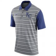 Wholesale Cheap Men's Kansas City Royals Nike Gray Dri-FIT Stripe Polo