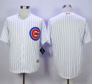 Wholesale Cheap Cubs Blank White Strip New Cool Base Stitched MLB Jersey