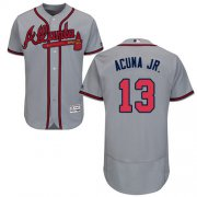 Wholesale Cheap Braves #13 Ronald Acuna Jr. Grey Flexbase Authentic Collection Stitched MLB Jersey
