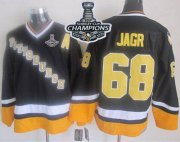 Wholesale Cheap Penguins #68 Jaromir Jagr Black/Yellow CCM Throwback 2017 Stanley Cup Finals Champions Stitched NHL Jersey