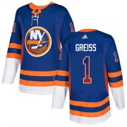 Wholesale Cheap Adidas Islanders #1 Thomas Greiss Royal Blue Home Authentic Drift Fashion Stitched NHL Jersey
