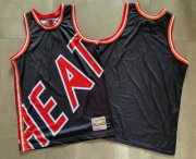 Wholesale Cheap Men's Miami Heat Black Big Face Mitchell Ness Hardwood Classics Soul Swingman Throwback Jersey