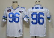 Wholesale Cheap Mitchell And Ness Hall of Fame 2012 Seahawks #96 Cortez Kennedy White Stitched Throwback NFL Jersey