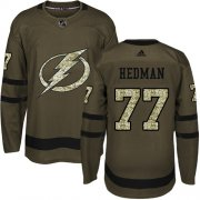 Wholesale Cheap Adidas Lightning #77 Victor Hedman Green Salute to Service Stitched Youth NHL Jersey
