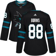 Wholesale Cheap Adidas Sharks #88 Brent Burns Black Alternate Authentic Women's Stitched NHL Jersey