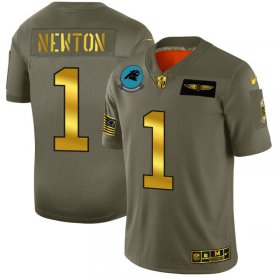 Wholesale Cheap Carolina Panthers #1 Cam Newton NFL Men\'s Nike Olive Gold 2019 Salute to Service Limited Jersey