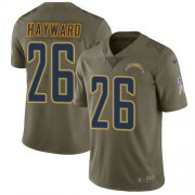 Wholesale Cheap Nike Chargers #26 Casey Hayward Olive Men's Stitched NFL Limited 2017 Salute to Service Jersey