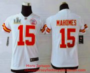 Wholesale Cheap Youth Kansas City Chiefs #15 Patrick Mahomes White 2021 Super Bowl LV Vapor Untouchable Stitched Nike Limited NFL Jersey