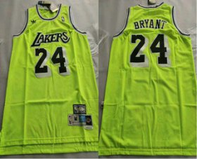 Wholesale Cheap Men\'s Los Angeles Lakers #24 Kobe Bryant Green With Black Name Hardwood Classics Soul Swingman Throwback Jersey