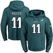 Wholesale Cheap Nike Eagles #11 Carson Wentz Midnight Green Name & Number Pullover NFL Hoodie