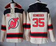 Wholesale Cheap Devils #35 Cory Schneider Cream Sawyer Hooded Sweatshirt Stitched NHL Jersey
