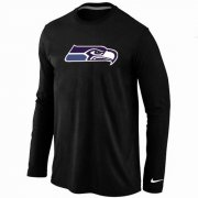 Wholesale Cheap Nike Seattle Seahawks Logo Long Sleeve T-Shirt Black