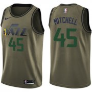 Wholesale Cheap Nike Jazz #45 Donovan Mitchell Green Salute to Service NBA Swingman Jersey