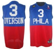 Wholesale Cheap Philadelphia 76ers #3 Allen Iverson Blue With Red 10TH Swingman Jersey