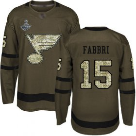 Wholesale Cheap Adidas Blues #15 Robby Fabbri Green Salute to Service Stanley Cup Champions Stitched NHL Jersey