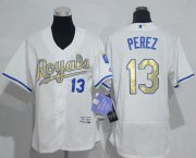 Wholesale Cheap Royals #13 Salvador Perez White Flexbase Authentic 2015 World Series Champions Gold Program Cool Base Women's Stitched MLB Jersey