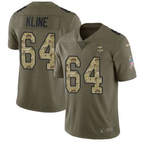 Wholesale Cheap Nike Vikings #64 Josh Kline Olive/Camo Men\'s Stitched NFL Limited 2017 Salute To Service Jersey
