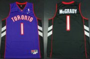 Wholesale Cheap Size XXXXXL Toronto Raptors #1 Tracy McGrady Hardwood Classic Black With Purple Swingman Jersey