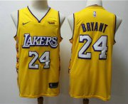 Wholesale Cheap Men's Los Angeles Lakers #24 Kobe Bryant Yellow 2020 Nike City Edition Swingman Jersey With The Sponsor Logo