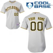 Wholesale Cheap Pirates Customized Authentic Grey Cool Base MLB Jersey (S-3XL)