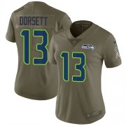 Wholesale Cheap Nike Seahawks #13 Phillip Dorsett Olive Women's Stitched NFL Limited 2017 Salute To Service Jersey