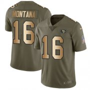 Wholesale Cheap Nike 49ers #16 Joe Montana Olive/Gold Men's Stitched NFL Limited 2017 Salute To Service Jersey