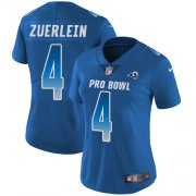 Wholesale Cheap Nike Rams #4 Greg Zuerlein Royal Women's Stitched NFL Limited NFC 2018 Pro Bowl Jersey