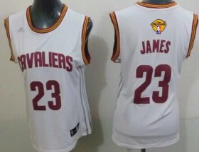 Wholesale Cheap Women\'s Cleveland Cavaliers #23 LeBron James White 2016 The NBA Finals Patch Jersey
