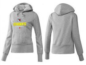 Wholesale Cheap Women\'s Kansas City Chiefs Authentic Logo Pullover Hoodie Grey