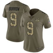 Wholesale Cheap Nike Bengals #9 Joe Burrow Olive/Camo Women's Stitched NFL Limited 2017 Salute To Service Jersey
