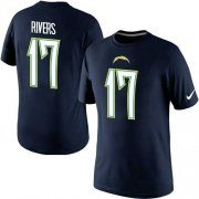 Wholesale Cheap Nike Los Angeles Chargers #17 Phillip Rivers Pride Name & Number NFL T-Shirt Navy Blue